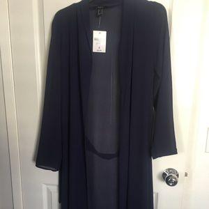 Causal jacket navy blue sheer
